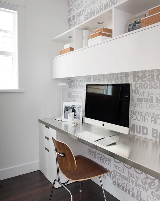 File cabinets under wall to wall floating desk for Built in study table