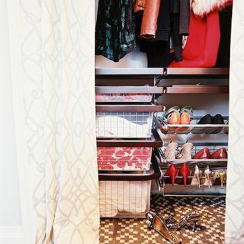 Closet with Curtains, Transitional, closet, Lonny Magazine