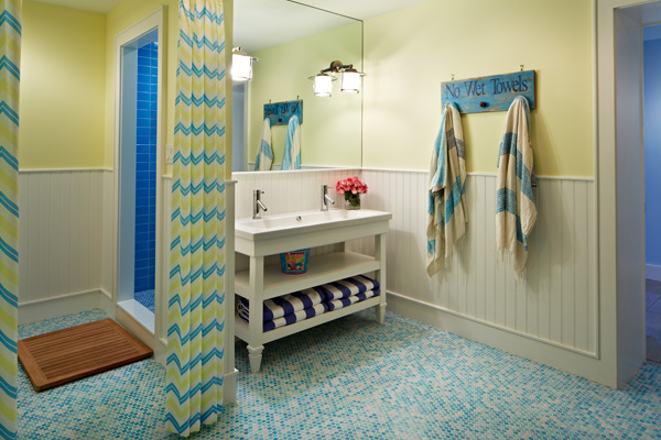Charmant Colorful Bathroom Design With Beadboard Paneled Lower Walls And Yellow Wall  Color.