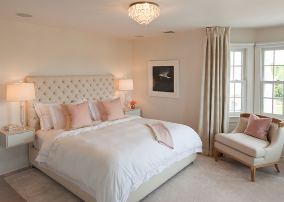 Pink and beige bedroom transitional bedroom robyn karp interiors - Romantic living room ideas for feminine young ladies casa ...