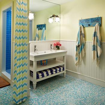Blue Mosaic Tile Floor