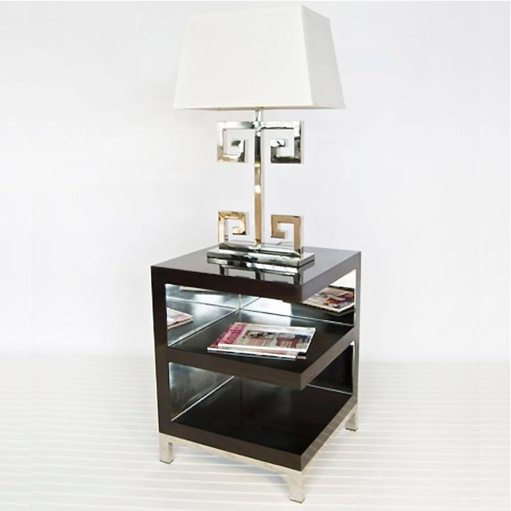 Worlds Away Warner Open Ended Chocolate Side Table