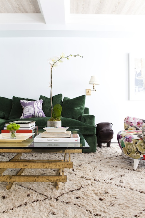 Emerald Green Sofa Eclectic Living Room Lilly Bunn Interior