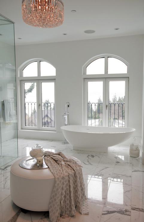 Bathroom doors open to outside deck transitional bathroom for Master bathroom ottoman