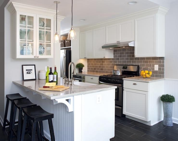 Classic White Galley Kitchen wood floor kitchen design ideas