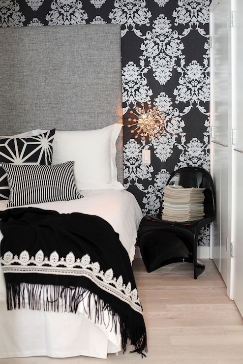 black damask wallpaper contemporary bedroom. Black Bedroom Furniture Sets. Home Design Ideas