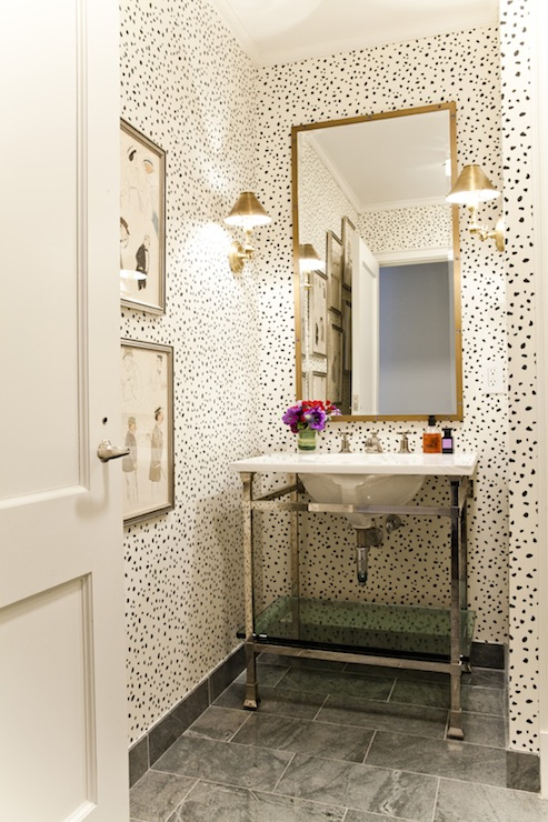 Powder Room With Thibaut Tanzania Wallpaper Contemporary