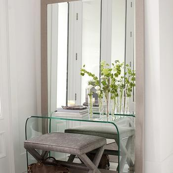 Black Waterfall Console Table With Gray Velvet X Stools