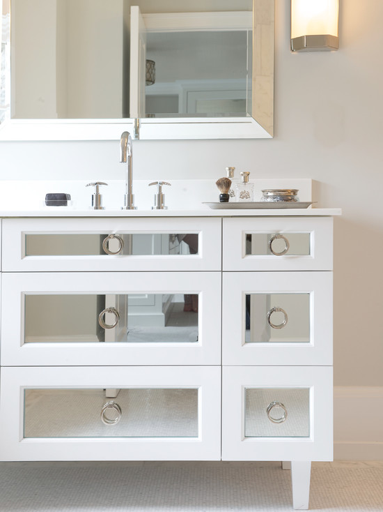 Brushed Silver Mirrored Vanity