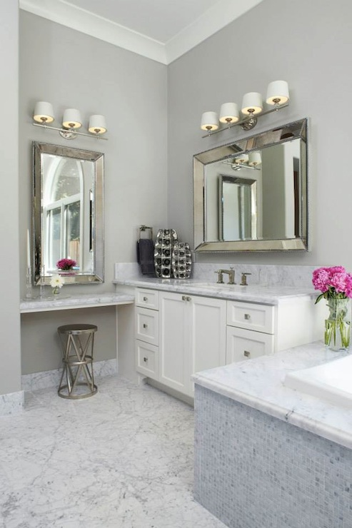 Bathroom over mirror light - Floating Make Up Vanity Transitional Bathroom Fautt