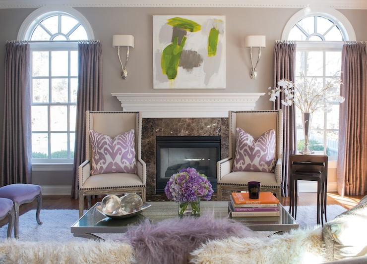 Purple Curtains Contemporary Living Room Susan Glick Interiors