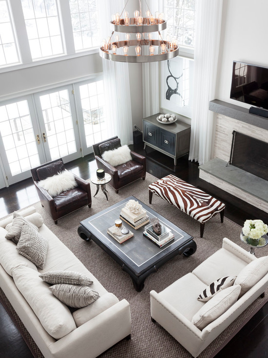 2 story curtains transitional living room benjamin moore intense white linda mcdougald - Two sofa living room design ...