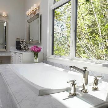 Vanities Flanking Bathtub, Transitional, bathroom, Fautt Homes