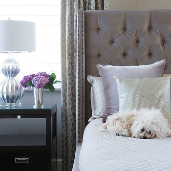 Gray Velvet Tufted Headboard, Contemporary, bedroom, Susan Glick Interiors