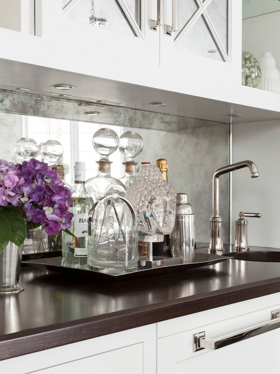 antiqued mirrored backsplash transitional kitchen mirror tile backsplash houzz