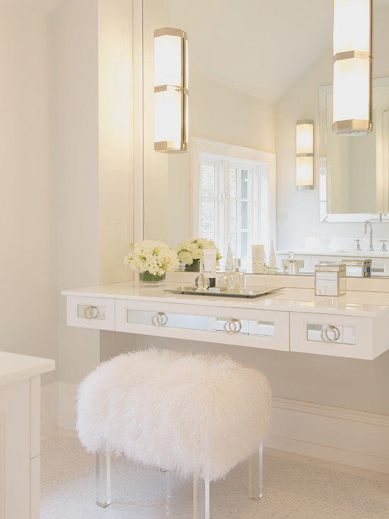 Floating Mirrored Vanity Contemporary Bathroom Susan Glick Interiors