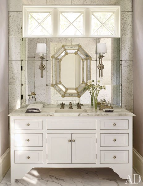 Octagon Mirror Transitional Bathroom Architectural