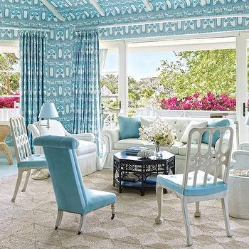 Turquoise Room, Eclectic, living room, Architectural Digest