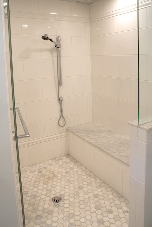 Hex shower floor transitional bathroom kelly baron for Shower floor tile