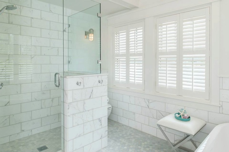 Large Marble Subway Tiles Transitional Bathroom JAS Design Build - Large marble bathroom tiles