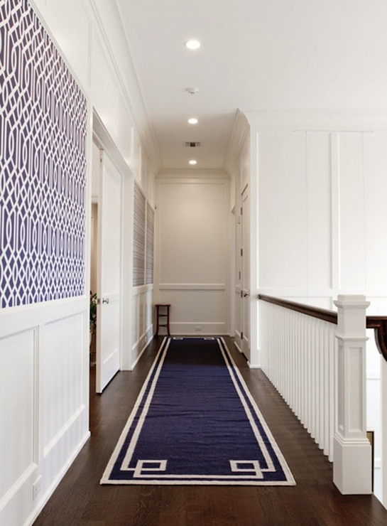 Navy Greek Key Rug Transitional Entrance Foyer Libby