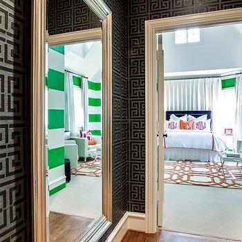 Silver Beveled Floor Mirro, Contemporary, girl's room, Underwood Interiors