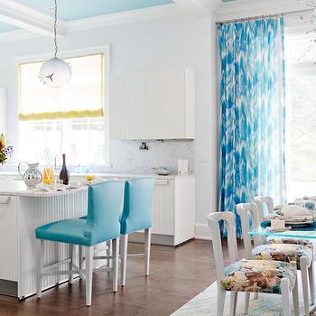 Turquoise Blue Drapes, Contemporary, kitchen, Duneier Design