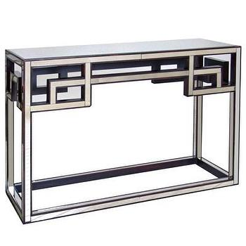 Worlds Away Fretwork Antique Mirror Console Table I Layla Grayce