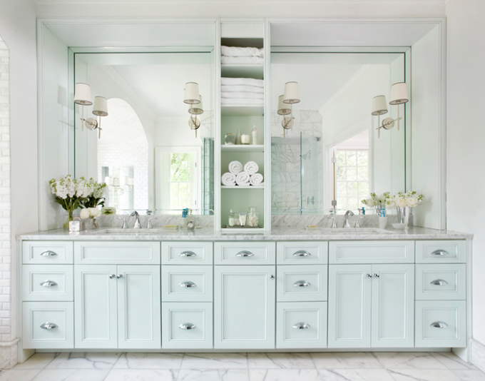 Master bathroom with light blue double vanity paired white carrera  marble countertop and framed mirrors over tiled floor White Double Vanity With Center Tower Design Ideas