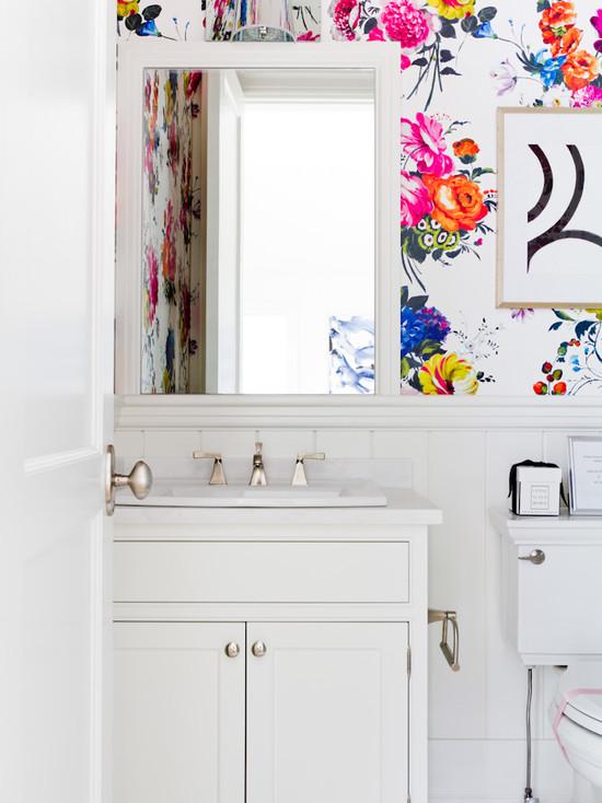 Wallpaper For Powder Rooms Contemporary Bathroom Lynne Scalo