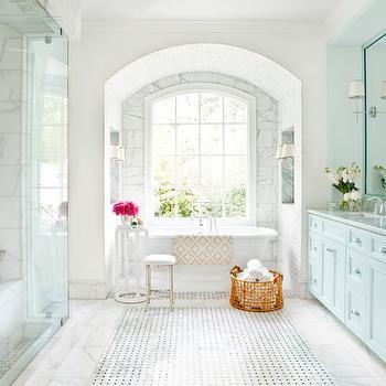Light Blue Washstand, Transitional, bathroom, Mark Williams Design