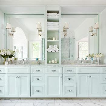 double vanity with center tower. Blue Bathroom Vanity Double With Center Console Design Ideas