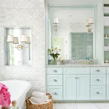 Blue Bathroom Cabinets, Transitional, bathroom, Mark Williams Design