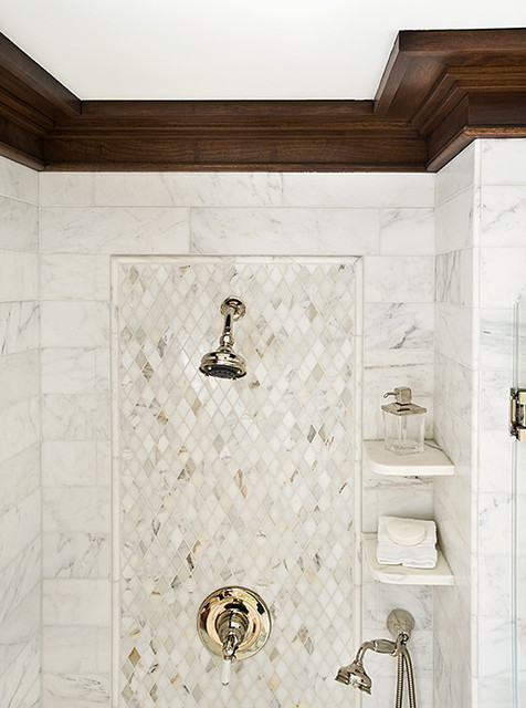 Shower shelves transitional bathroom trg architects for Bathroom design 2d