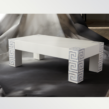 gray mother of pearl greek key legs white lacquer coffee table