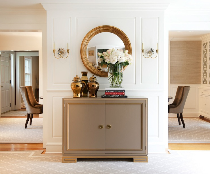 Foyer Mirror Cabinet : Mirrored foyer cabinet with gray french sconces