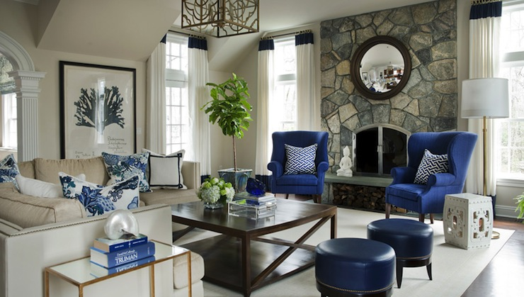 Blue Wingback Chairs Transitional Living Room Morgan
