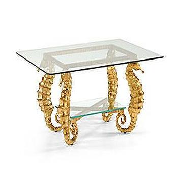 Gold Seahorse Base Glass Top Coffee Table