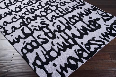 Black Script Graphic White Area Rug