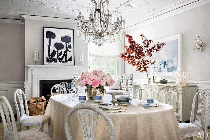 Whitewashed Dining Chairs Transitional Dining Room Architectural Digest