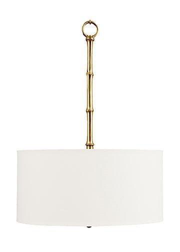 Brass fauz bamboo white drum shade chandelier mozeypictures Image collections