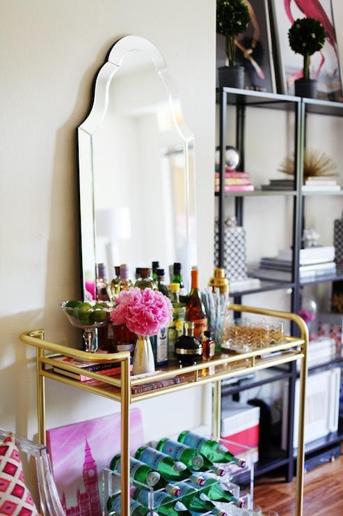 gold bar cart transitional living room the glitter guide. Black Bedroom Furniture Sets. Home Design Ideas