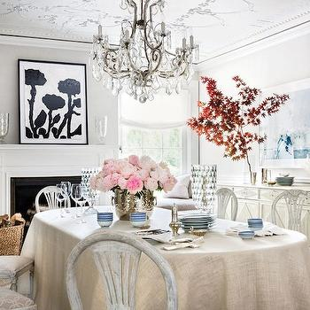 Whitewashed Dining Chairs, Transitional, dining room, Architectural Digest