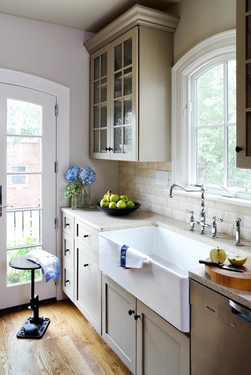 Greige Glass Subway Tile White Kitchen