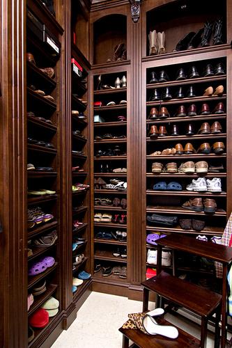 Dark wood floors design ideas for Walk in shoe closet