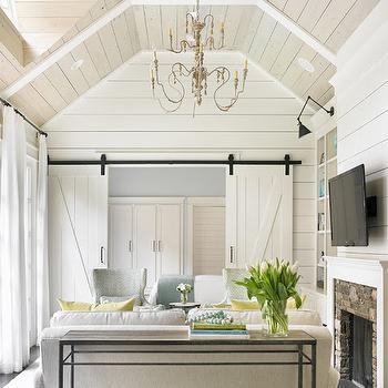 Interior Barn Doors, Cottage, living room, Tillman Long Interiors