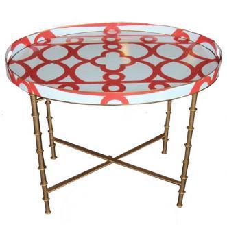 Orange Geometric Print White Round Tray Table