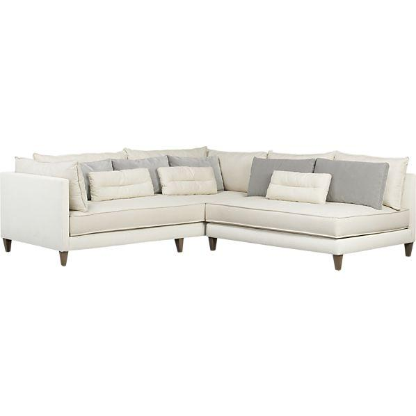 White 2 piece armless sectional sofa for Crate and barrel armless chair