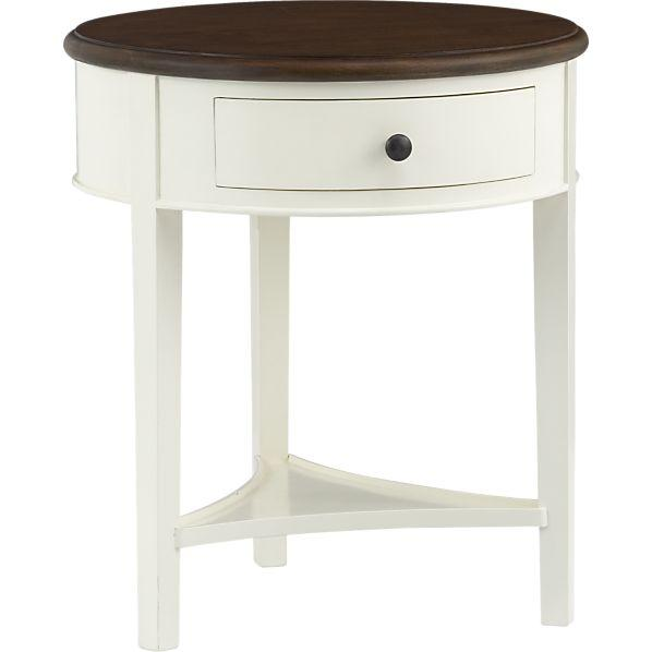 Round wood top single drawer white nightstand for White wood nightstand