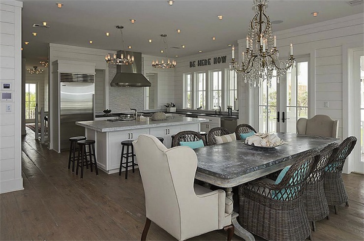 Pair of chandeliers over dining table design ideas zinc dining table view full size beach cottage kitchen with crystal chandelier over aloadofball Images